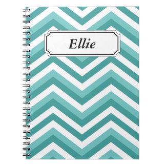 Fresh Turquoise Aquatic chevron zigzag pattern Notebook
