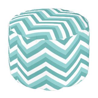 Fresh Turquoise Aquatic chevron zigzag pattern Pouf