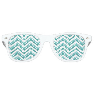Fresh Turquoise Aquatic chevron zigzag pattern Retro Sunglasses