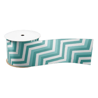 Fresh Turquoise Aquatic chevron zigzag pattern Satin Ribbon