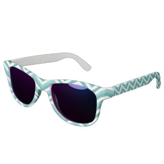 Fresh Turquoise Aquatic chevron zigzag pattern Sunglasses