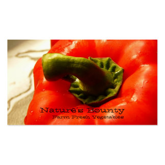 Fresh Vegetable Red Bell Pepper Business Card Template