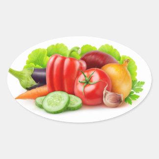 Fresh vegetables oval sticker