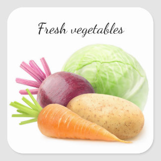 Fresh vegetables square sticker