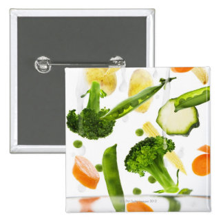 Fresh vegetables with water falling into a bowl 15 cm square badge