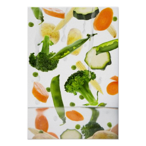 Fresh vegetables with water falling into a bowl print