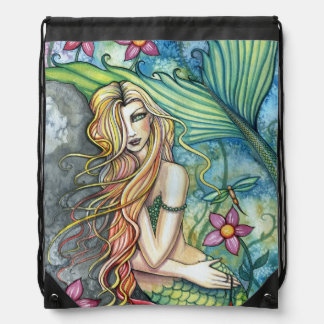 Fresh Water Mermaid Fantasy Art Drawstring Bag