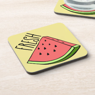 Fresh Watermelon Plastic coasters w/cork back