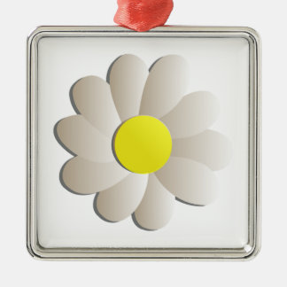 FRESH WHITE DAISY FLOWER, SPRING TIME FLOWER Silver-Colored SQUARE DECORATION