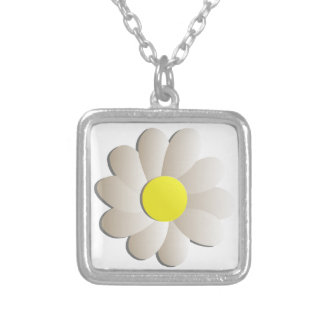 FRESH WHITE DAISY FLOWER, SPRING TIME FLOWER SQUARE PENDANT NECKLACE