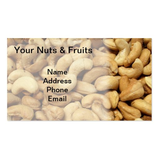 Freshly Roasted Cashew Nuts Business Card Templates