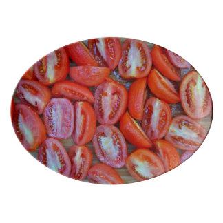 Freshly sliced tomatoes porcelain serving platter