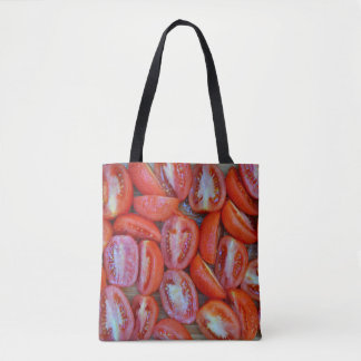 Freshly sliced tomatoes tote bag