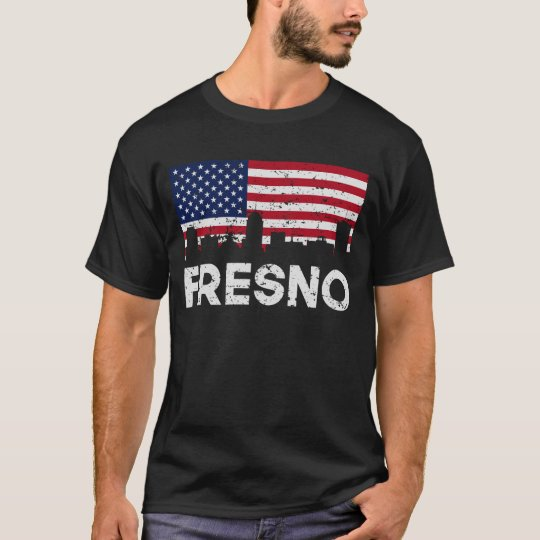 Fresno CA American Flag Skyline Distressed T-Shirt