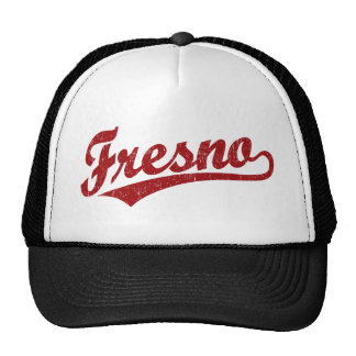 Fresno script logo in red distressed cap