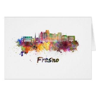 Fresno V2 skyline in watercolor Card