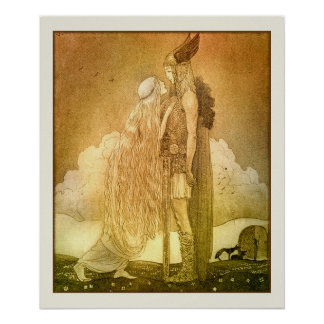 Freyja and Svipdag by John Bauer 1911 Scandinavian Poster