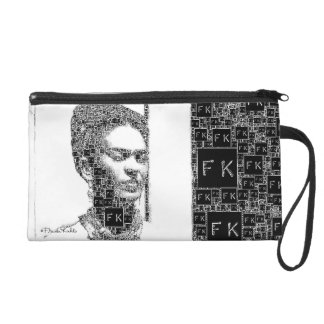 Frida Kahlo Black and White Portrait Wristlet Purse
