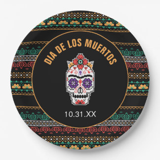 Frida Kahlo   Dia De Los Muertos Paper Plate