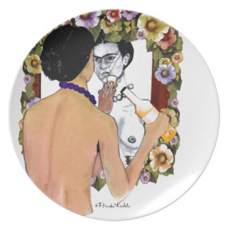 Frida Kahlo en el Espejo Portrait Party Plate