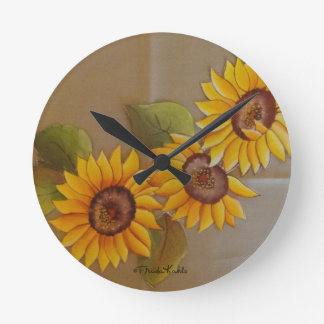 Frida Kahlo Painted Sunflowers Wall Clocks