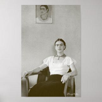 Frida Kahlo Seated w/ Frida Painting Poster