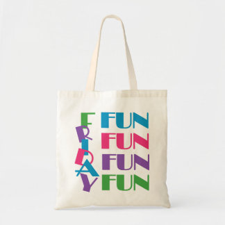 Friday! Fun Weekend Overnight Sleepover Party Budget Tote Bag