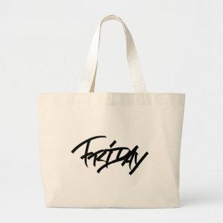 Friday graffiti tag large tote bag