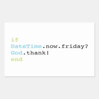 Friday Rectangular Sticker