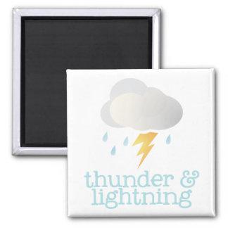 Fridge Weather - THUNDER Square Magnet
