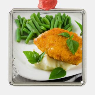 Fried breaded chicken, green beans and mash metal ornament