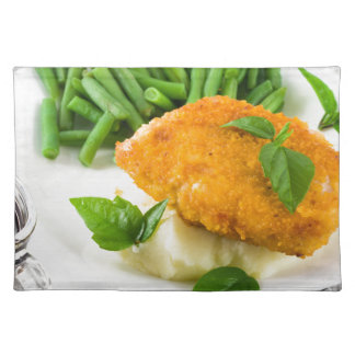 Fried breaded chicken, green beans and mash placemat