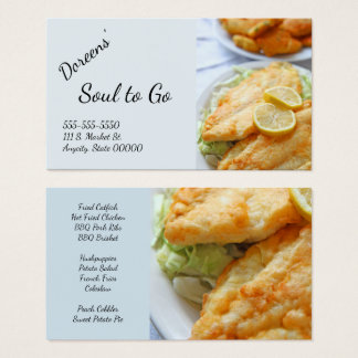 Fried catfish with hushpuppies business card