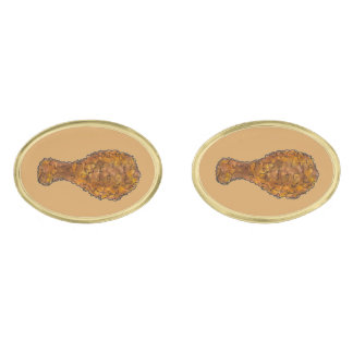 Fried Chicken Leg Legs Drumstick Soul Food Foodie Gold Finish Cufflinks