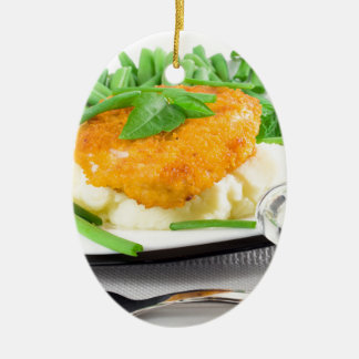 Fried chicken, mashed potatoes and green beans ceramic ornament