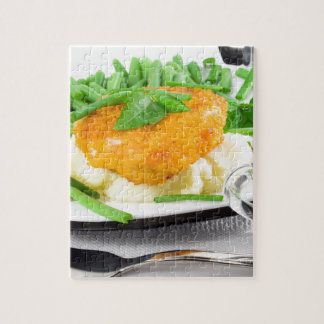 Fried chicken, mashed potatoes and green beans jigsaw puzzle