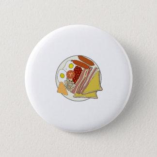 Fried English Breakfast Plate 6 Cm Round Badge