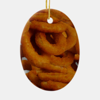 Fried Golden Onion Rings Photography Ceramic Ornament
