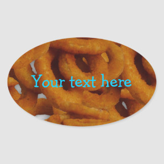 Fried Golden Onion Rings Photography Oval Stickers