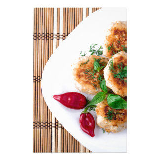 fried meatballs of minced chicken stationery