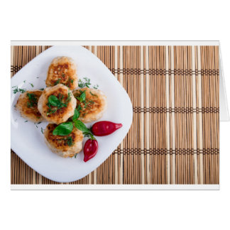 Fried meatballs of minced chicken with red pepper card