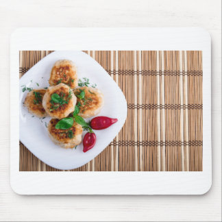 Fried meatballs of minced chicken with red pepper mouse pad