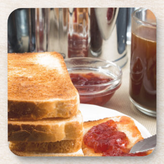 Fried toast with strawberry jam coaster