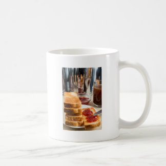 Fried toast with strawberry jam coffee mug
