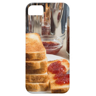 Fried toast with strawberry jam iPhone 5 case