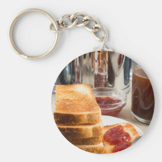 Fried toast with strawberry jam key ring