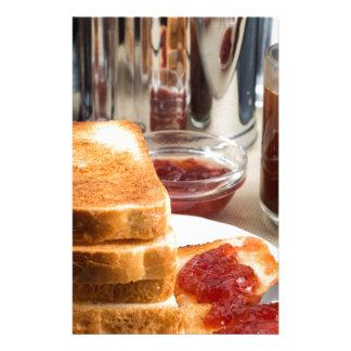 Fried toast with strawberry jam stationery