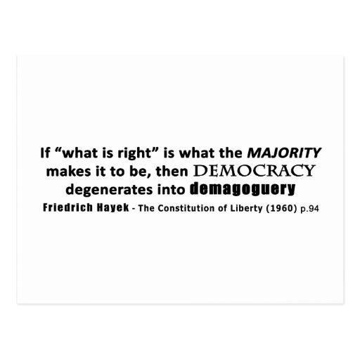 Friedrich Hayek Quote Democracy & Demagoguery Post Cards