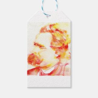 friedrich nietzsche - watercolor portrait.3 gift tags