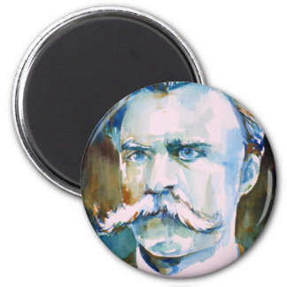 friedrich nietzsche - watercolor portrait 6 cm round magnet